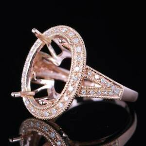 Oval Cut 15x10mm Solid 14K Rose Gold 1/5ct Diamond Semi Mount Engagement Ring