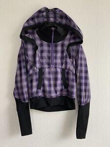Lululemon Size 6 Purple Plaid 1/2 Zip Pullover Jacket Reflective Run Check Hood
