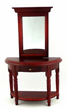Melody Jane Dolls House Miniature Furniture Wooden Mahogany Hall Table / Mirror
