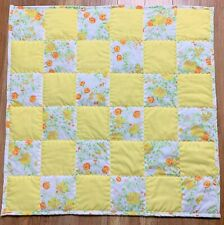 Baby Girl Quilt Handmade Yellow Floral Soft Patchwork Crib Blanket New