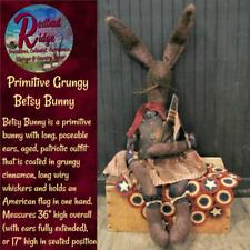Primitive Vintage Colonial Americana Folk Art Grungy American Flag Betsy Rabbit