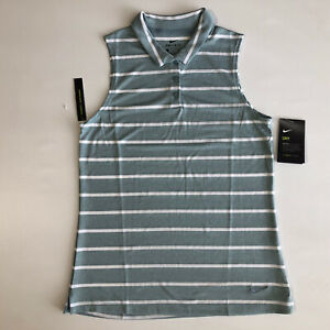Nike Dry Dri-Fit Women's Sleeveless Striped Golf Polo AJ8669-041 Sz S