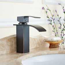 Square Waterfall Basin Mixer Tap Faucet Oil Rubbed Black Bathroom Sink Faucets
