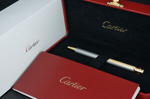 Cartier ST150192 Santos Silver and Gold Ballpoint pen w/Box #C90