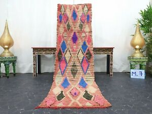 "Moroccan Handmade Vintage Rug 2'4""x7'6"" Berber Geometric Pink Blue Carpet"