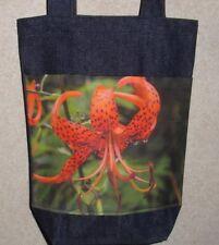 NEW Handmade Small Ozark Orange Lily Wildflowers Photo Denim Tote Bag