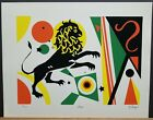 """T. Sayer Signed & Numbered Serigraph """"Leo"""" 26/200 13""""×16"""" Zodiac Sign 1970s"""