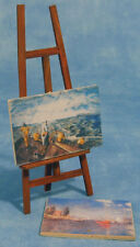 Wooden Painting Easel With Two Pictures, Miniature, Dolls House Miniatures