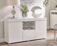 WHITE High Gloss Display Cabinet Sideboard Cupboard MatSides Glass Shelf QUALITY