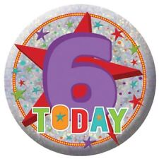 Holography Happy 6th Birthday Badge 6 Today Party Celebration