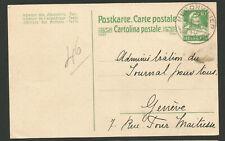 1921 Suisse Helvetia entier postal oblitération Reconvilier carte postale /T7739