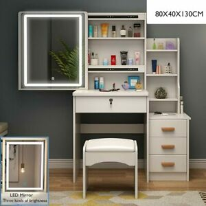 Modern Dressing Table with Sliding Tounch Screen Makeup Mirror 4 Drawers Stool