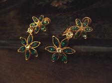 Vintage Emerald & Turmaline Green Crystal Flower Drop Clip-on Earrings