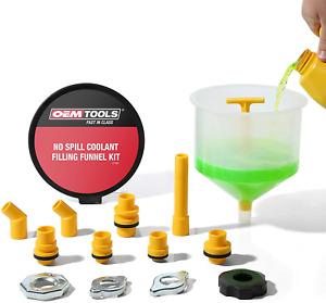 Coolant Filling Funnel Kit Spill Proof Near Universal Fitment Translucent 15 Pcs