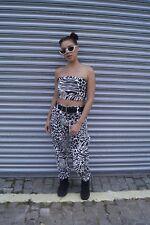 Womens Animal Print Monochrome Boob Tube Festival Size Xs Uk 6-8