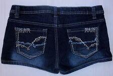 U-51 Jeans Shorts MINI STRETCH size 8 10 blink button dark blue denim