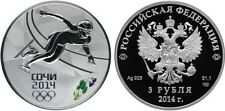 3 Rubles Russia 1 oz Silver 2013 Sochi 2014 Short Track Speed Skating Proof