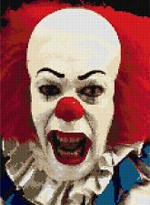 "Pennywise ""e"" CLOWN CROSS STITCH Kit Pellicola carattere 9 ""x11"" Designs in thread"