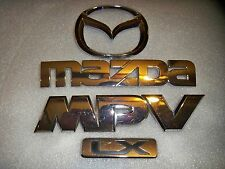 OEM MAZDA MPV LX 4PC. SET Nameplate/Emblems  Chrome (rear hatch mount)
