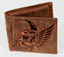 RFID/NFC Geldbörse Bikerbörse Naturleder Büffelleder Kettenbörse Wing of Hell