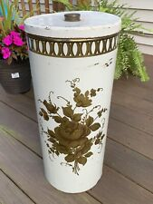 Vintage Gold Floral Laundry Hamper Round Metal By Decoware Made In USA