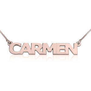 Custom Block Style Font Name Necklace - Rose Gold Plated Any Name Pendant