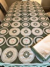 """Vintage Green Crochet Tablecloth With 8 Napkins, 102""""x65"""""""