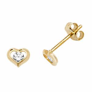 Genuine 9CT Yellow Gold Heart CZ Stud EARRINGS 375 Hallmarked 0.5 Grams Earrings