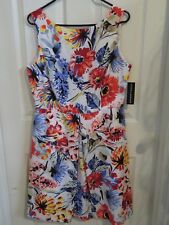 New Women's Donna Morgan White & Multi-Color Floral Dress Front Pleat Size 12