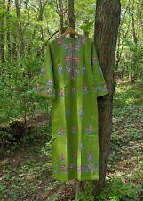 60s Vtg Embroidered Maxi Dress Floral Green  Cotton India Boho Hippie M NOS 70s
