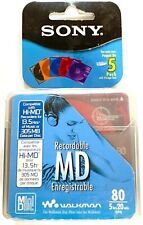 Sony Mini Disc 5 Pack Color Collection Recordable Md 80 Discs. New / Sealed.