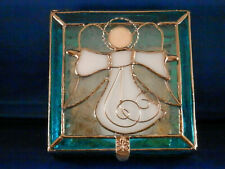 Stained Glass Guardian Angel Box - Large - Turquoise