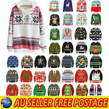 Women Christmas Xmas Hoodie Sweater Sweatshirt Festive Ugly Pullover Jumper Tops