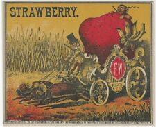 1874 Wambach Printed Strawberry Connecticut Tobacco Label Mice Pull Fruit Wagon