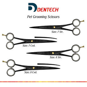 "Pro Pet Dog & Cat Grooming Barber Hair Dressing Salon Scissors 7"" & 8"" Str Cvd"