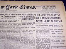 1939 JUNE 21 NEW YORK TIMES - HULL PROTESTS TO JAPAN ON KULANGSU & BOMB - NT 602