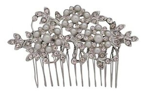 Diamante & Pearl Flower Hair Comb Bridal Hair Comb Wedding Comb Prom Races New