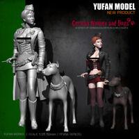 1/24 Scale German Women And Dogs Unpainted Model Kits YUFAN Model Figurine Resin