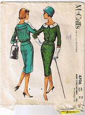 Vintage 50s Retro 2 Piece Suit Dress Jacket Skirt McCall Sewing Pattern Size 12
