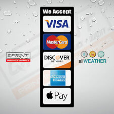 CREDIT CARD LOGO DECAL VINYL STICKER - Visa MasterCard Discover AE Apple Pay