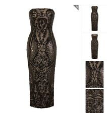 75c38c78358b Naz Collection Vogue Luxe Black Nude Strapless Sequin Illusion Midi Pencil  Dress