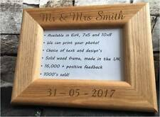 personalised natural solid wooden photo 6x4 frame custom engraved Any Message