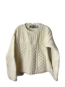 celtic country sweater Kids Size 7 Merino Wool Fisherman Cableknit Ivory Knit