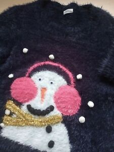NEXT Girls Christmas Jumper Age 8 Navy blue fluffy with Snowman