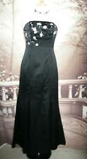 Designer Dress/Ballgown/Maxi Size 8 Black Satin Evening Prom Strapless Beaded
