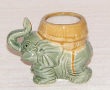 "NEW LUCKY ELEPHANT & BASKET PLANTER PLANT BAMBOO POT HOLDER CERAMIC 5"" TRUNK UP"