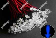 500P x 5mm blue Pre Wired LED 5mm wired blue Bulbs Light 12V 20cm (Water clear)