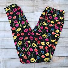 Yellow Orange Pink Blue TULIP Black Floral Women's Leggings Plus Size TC 12-20