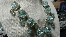 A786 Huge Vintage Crystaline Broken Aqua Glass Orb Necklace Signed Germany, Wow!