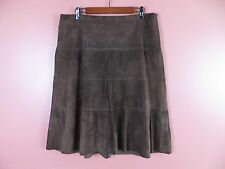 7eac5b28e2 LTR0498- SAGUARO Woman 100% Leather Suede Paneled Pleated Skirt Darkest  Brown 10
